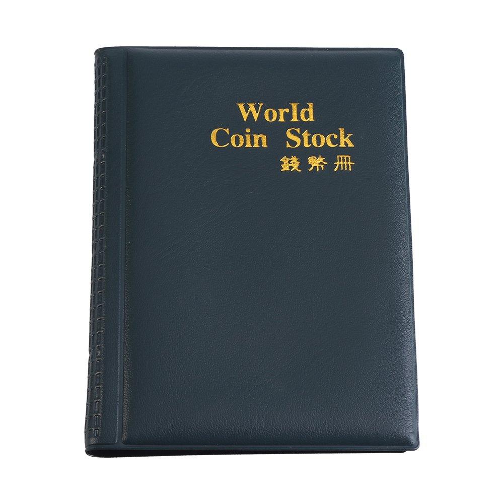 120 Pockets 10 Pages World Coin Storage Folder Album Money Collecting Holder Book New Design (Green)