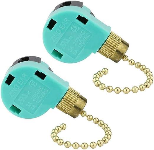 ZE-268S6 - Interruptor de cadena de 3 velocidades y 4 cables para ventilador de techo, control de luz de pared, 2 unidades: Amazon.es: Iluminación