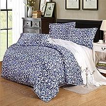 TheFit European Style Silk Floss Satin Jacquard Bedding Sets Blue Flower M21 Duvet Cover Sets , Queen King Size , 4Pcs (Twin)