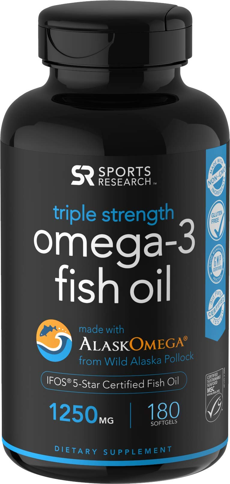 Omega-3 Wild Alaskan Fish Oil (1250mg per Capsule) with Triglyceride EPA & DHA | Heart, Brain & Joint Support | IFOS 5 Star Certified, Non-GMO & Gluten Free (180 Softgels) by Sports Research