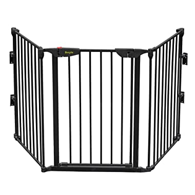"""Bonnlo 73-Inch Configurable Walk-Through Baby Safety Gate Adjustable Metal Barrier/Fence for Toddler/Pet/Dog/Cat/Puppy – Ideal for Openings/Stairs/Doorways, Includes 4 Pack of Wall Mounts (28"""" Tall, B"""
