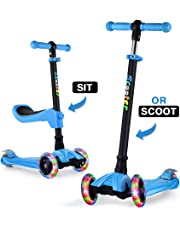 GOOGO Kick Scooter for Kids 3 Wheel Scooter for Toddler, Girls & Boys, Lean to Steer, 4 Adjustable Height, PU LED Light Up Wheels for Children 3-13 Years Old