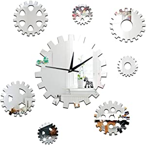 ChezMax DIY Wall Hanging Clock Decal Murals 3D Gear Wallpaper Sticker for Home Decorations