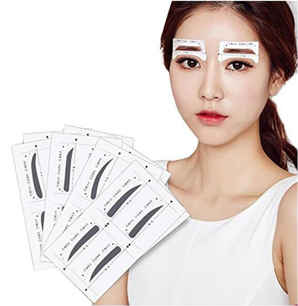 32pairs 4 Styles Thrush Card Eyebrow Shaping Stencils Grooming Kit Makeup Shaper Set Template Tool DIY Beauty Tools Eyebrows Sticker