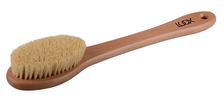 LUQX Badebürste - Saunabürste weiche Naturborste - langem Stiel | Lange Duschbürste, Rückenbürste mit weichen Borsten