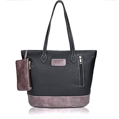 ZMSnow Designer PU Leather Tote Handbag Shoulder Mix Color Bag for Women Girl Work School(ZMS-NB-105,Black)