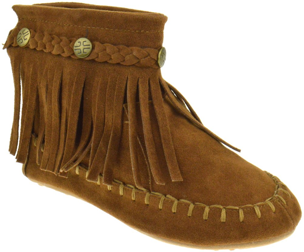 TG 01K Little Girls Ankle Moccasin Single Layer Fringe Boots Beige 12