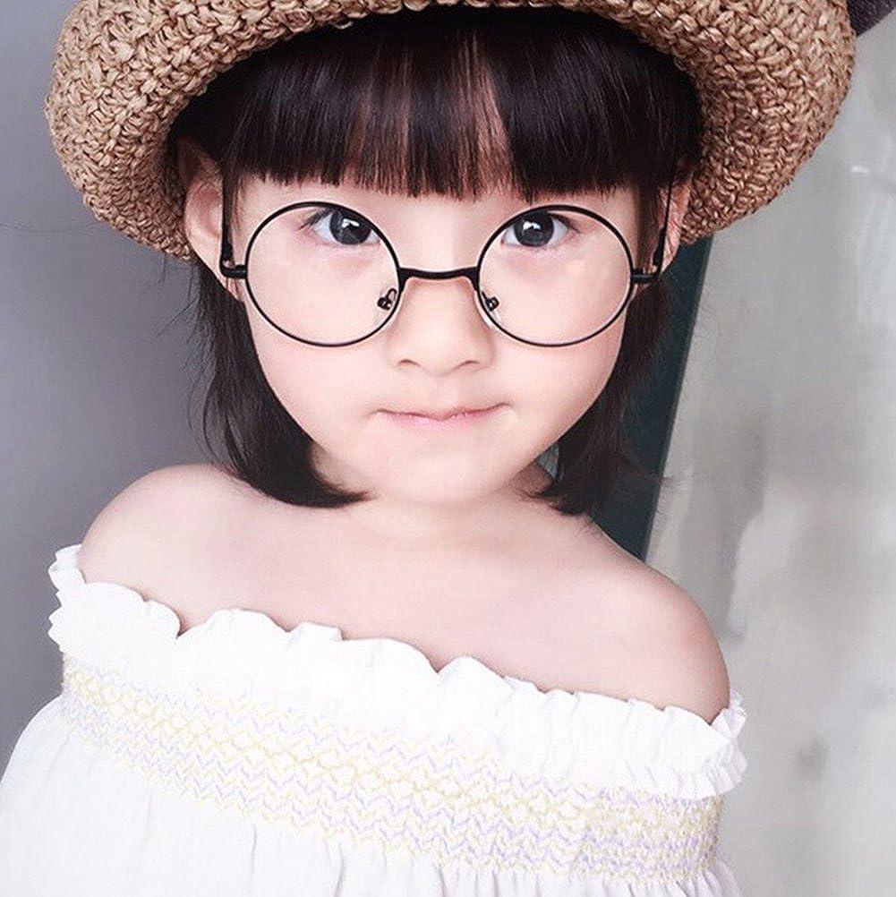 Occhiali Rotondi per Ragazze Ragazzi Moda Vintage Stile Lenti Trasparenti in Metallo Montatura per Infantile Bambini Unisex