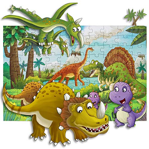 Puzzles for Kids Ages 4-8, Aitey 100 Piece Dinosaur Jigsaw Puzzles for Toddler Preschool Educational Learning Toys Puzzles for Boys and Girls
