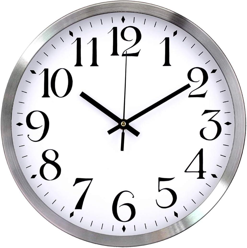 TopOne Silent Wall Clock,Battery Operated 12 inch Accurate Sweep Movement Silver Aluminum Quartz Kitchen/Home/School Patio Decor(White)