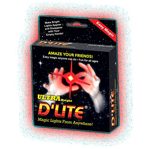 D'lites Junior Red Lightup Magic - Thumbs Set / 2 Original Amazing Ultra Bright Light - Closeup & Stage Magic Tricks - Easy Illusion Anyone Can Do It - See Box for Free Training / Routine Videos