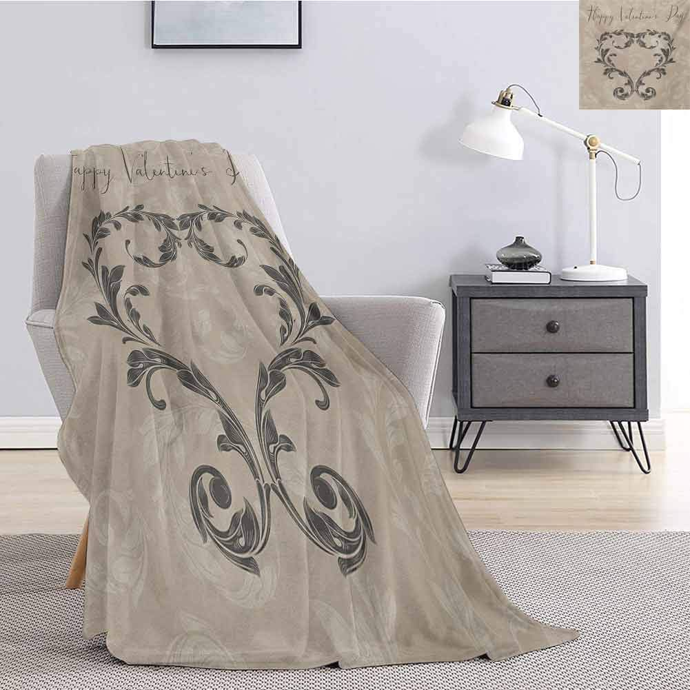 Luoiaax Taupe Bedding Flannel Blanket Happy Love Valentines Day Stylized Hand Writing Laurel Leaves Forming Heart Victorian Super Soft and Comfortable Luxury Bed Blanket W91 x L60 Inch Taupe Tan