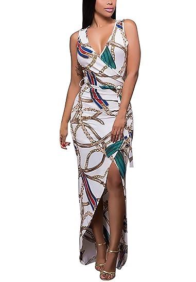 Vestido Mujer Vestidos De Fiesta Largos De Noche Elegantes Sin Mangas Dresses Señoras Moderno V Cuello Slim Fit Ajustado Moda Vintage Hippie Asimetricas ...