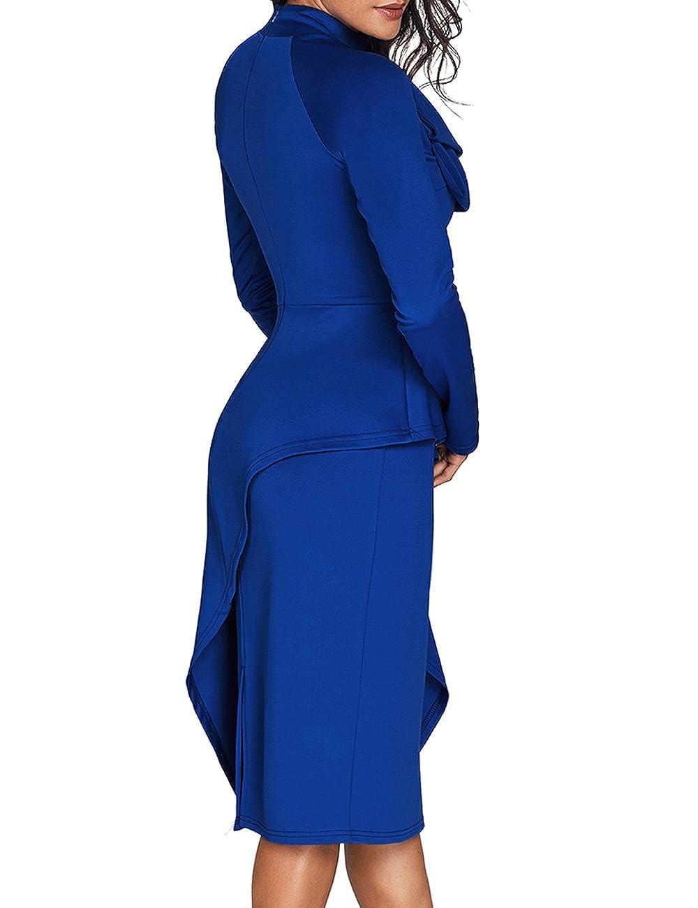 83f3107b183 CICIDES Womens Tie Neck Peplum Waist Long Sleeve Bodycon Business Dress(S-XXL)  at Amazon Women s Clothing store