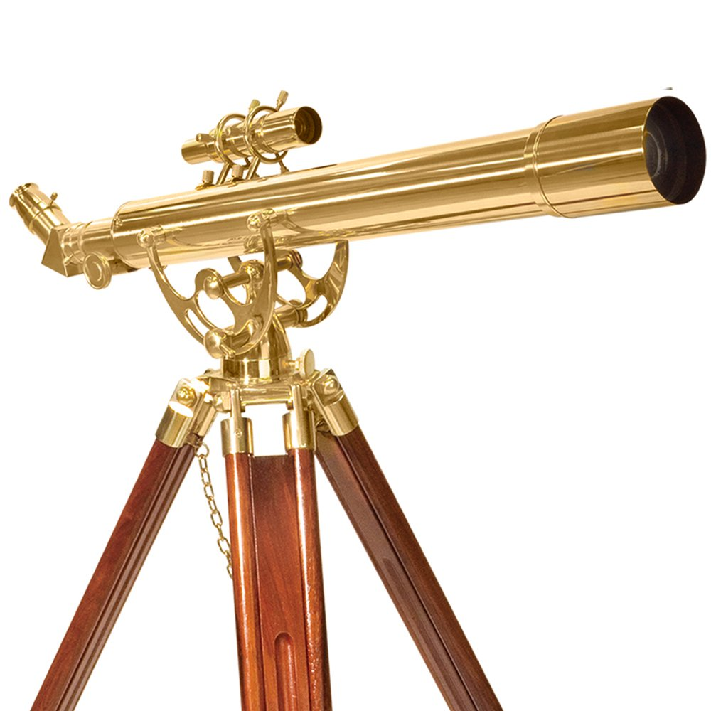 BARSKA Anchormaster 28x60m Brass Refractor Telescope w/ Mahogany Floor Tripod by BARSKA