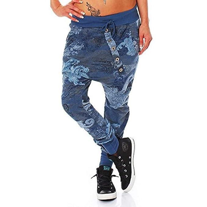 Mymyguoe Mujer Pantaloni Boyfriend en el Punto-Design Baggy Bombacho Sudadera Yoga Botón Suelto Pantalones de harén Pantalones Falda de Pierna Ancha ...
