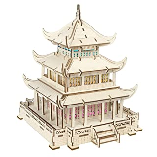 juler Educational Toy Building Puzzle Yueyang Tower Colorful Lights (Group A) 3D Model Three-Dimensional Jigsaw PuzzleCutting,Yellow,One Size