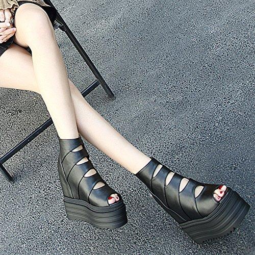 Femmes High Étudiants Pente Sandales Eu38 Étanche Bouche Shoeshaoge heeled Avec Chaussures Enfants Taiwan Poisson F1qxqtw0P