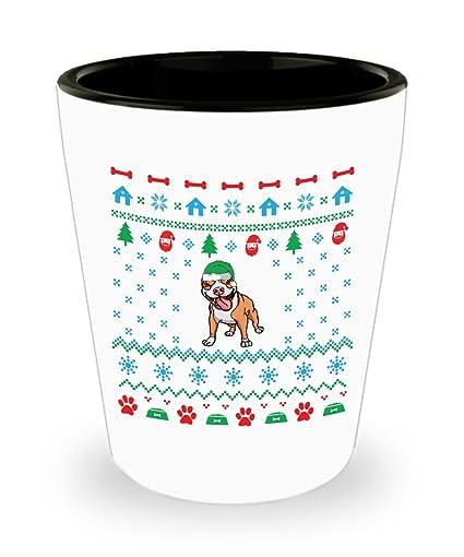 Amazoncom Pit Bull Dog Ugly Christmas Sweater Shot Glass Sayings