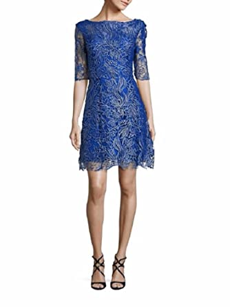 5ed1499a54a27 Kay Unger New York Women's Short Sleeve Metallic Floral Lace Dress 12  Cobalt at Amazon Women's Clothing store: