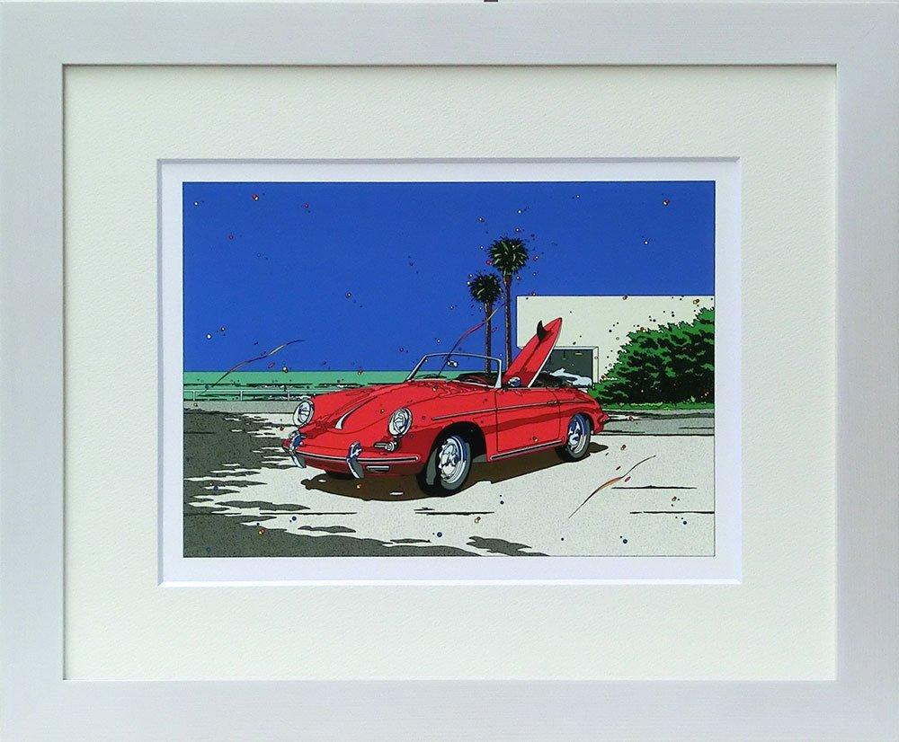 鈴木英人 ミニプリント シリーズ 「ポルシェ356Bロードスター」 フレーム 付き B00WHHLN8C