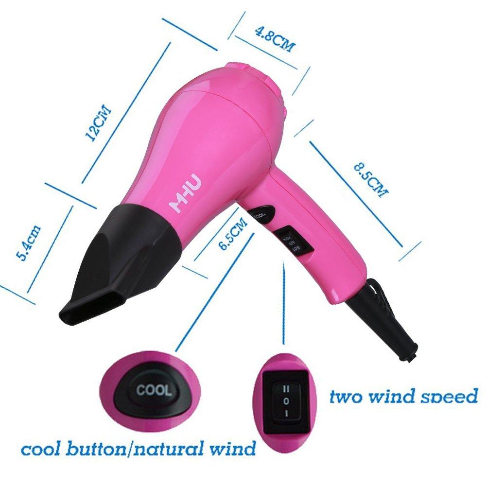 Mhu - Secador de pelo mini con difusor y boquilla, 2 temperaturas y aire frío, compacto, ligero y potente de bajo voltaje: Amazon.es: Belleza