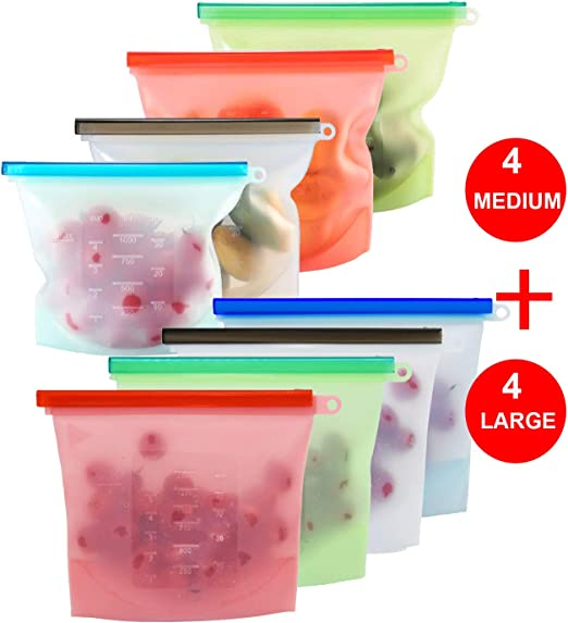 Silicone Bags Reusable Silicone Food Bag Reusable Sandwich Bags Reusable Ziplock Bags Silicone Storage Bags Silicon Containers Plastic Conteiner ...