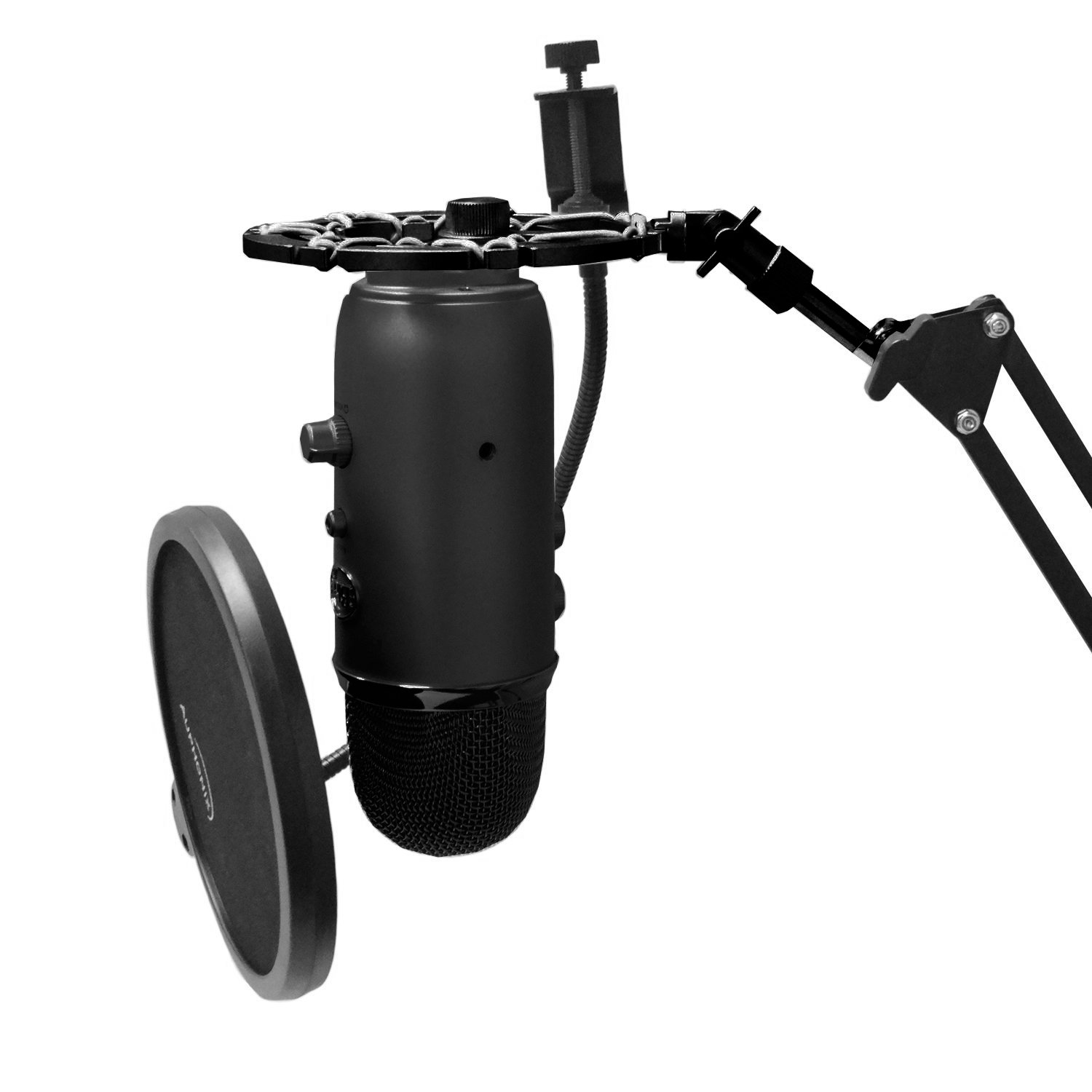 Black Shock Mount Compatible With Blue Yeti Mic by Auphonix