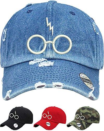 Allntrends Adult Vintage Dad Hat Harry Glasses Scar Cap Emboridered Dad Hat (Medium Denim) (Name Of The Hat In Harry Potter)
