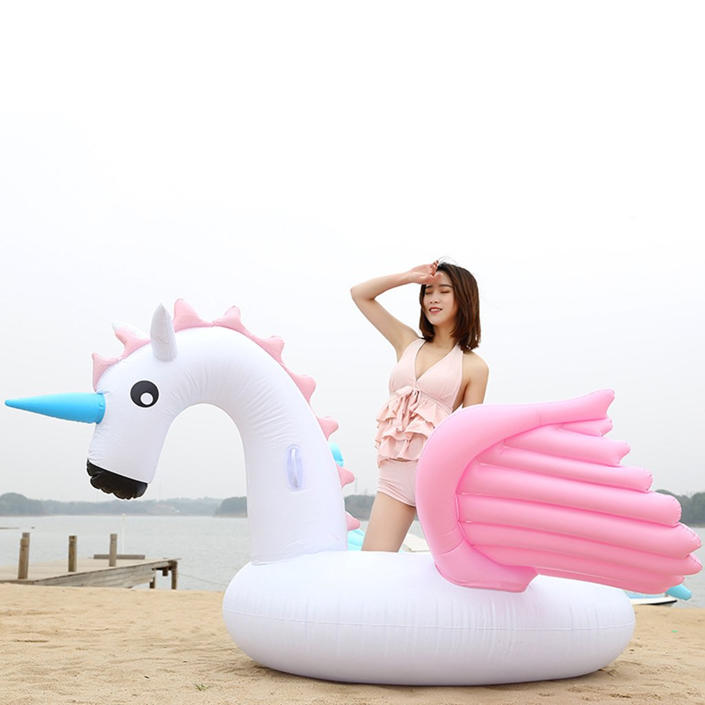 Floating Row Thickening PVC Animal Mount Water Inflatable Adult Swimming Ring Mount Tianma by Xingqianru