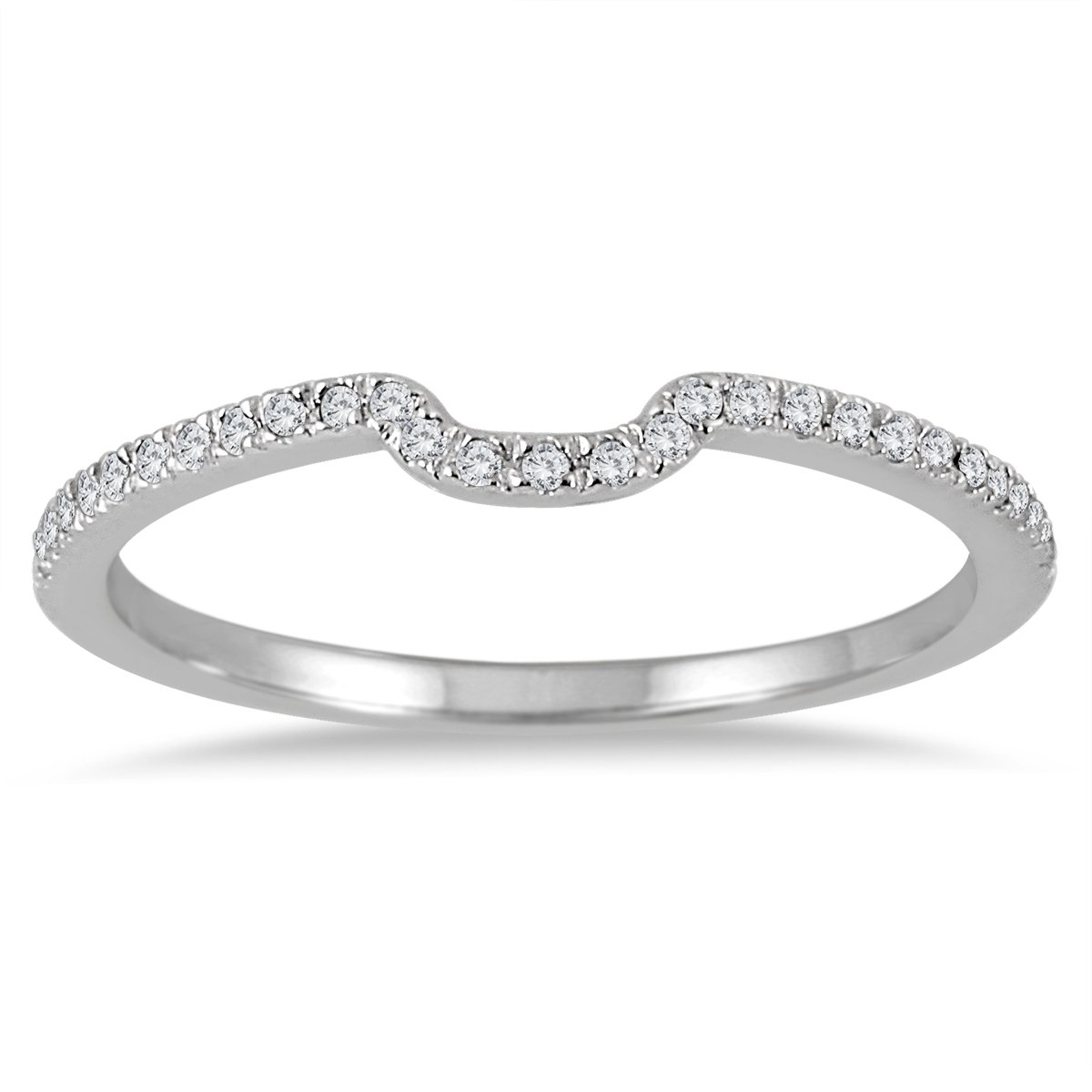 1/8 Carat TW Diamond Wedding Band in 14K White Gold by Szul