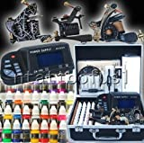 Professional Complete Tattoo Kit 3 Top Machine Gun 40 Color Ink 50 Needles Power Supply