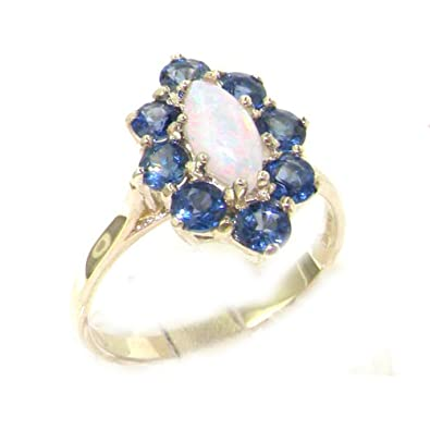 Luxury Solid English Sterling Silver Natural Blue Sapphire Trilogy Ring 1le8DCYU6