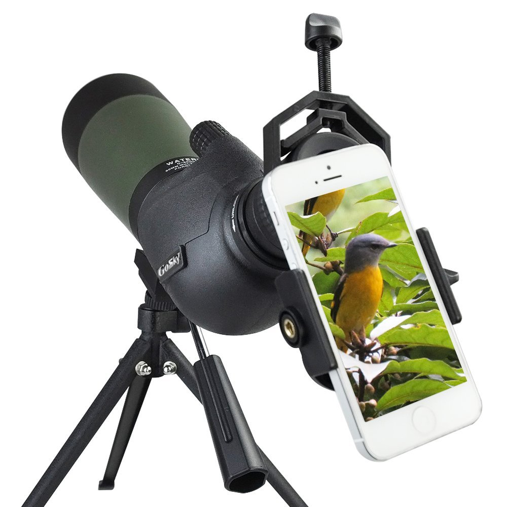 Gosky 20-60 X 80 Porro Prism Spotting Scope- Waterproof Scope for Bird Watching Target Shooting Archery Range Outdoor Activities -with Tripod & Digiscoping Adapter by Gosky