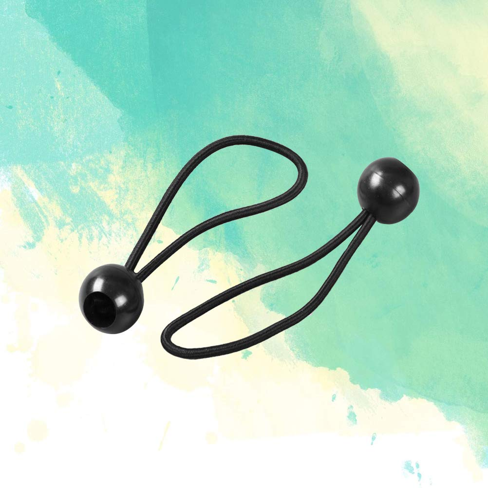 Black color UKCOCO 50Pcs Elastic String Super Invisible Straps Adjustable Accessories with A Round Ball