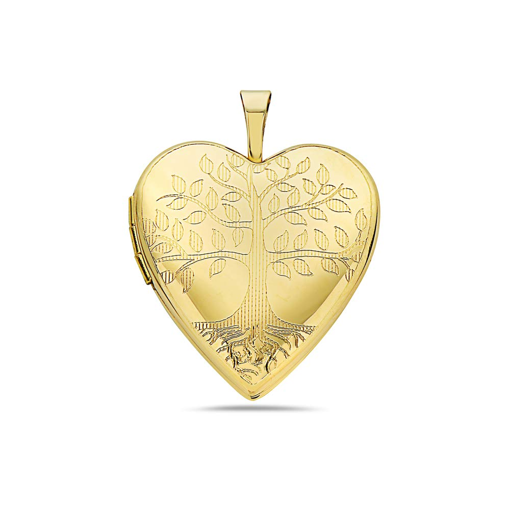 Pori Jewelers 14K Solid Yellow Gold Heart Locket Pendants- Perfect for Holding Photos, Messages, sentimental's-Multiple Styles Available (Tree of Life (25MM))