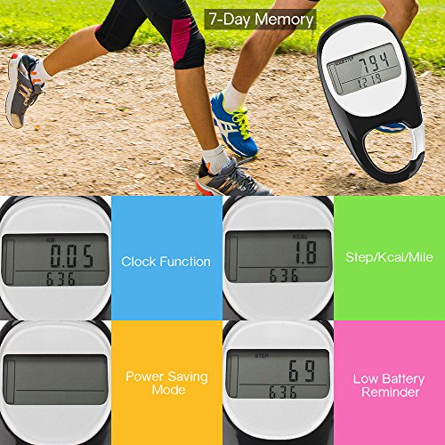 Tsumbay Pedometer for Walking, 3D Carabiner Fitness Tracker with 7 Day Memory, Slient Digital Pedometer with Step, Calorie & Distance Counter for Men & Women