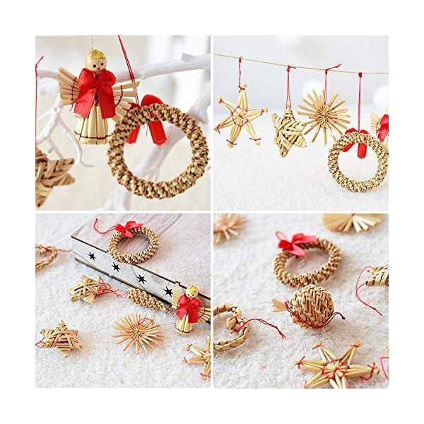 56 pezzi di paglia di decorazione dell'albero di Natale, ciondolo di ornamenti creativi da appendere alle forniture di artigianato natalizio Ornamenti decorativi da appendere 6 spesavip