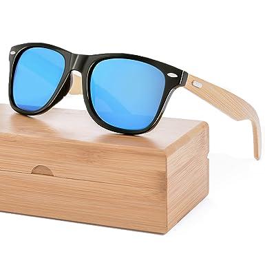 Amazon.com: Gafas de sol retro de madera para hombre, de ...