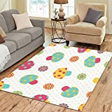 Cheap InterestPrint Cute Colorful Mushroom Area Rugs Carpet 7 x 5 Feet, Polka Dot Modern Carpet Floor Rugs Mat for Children Kids Home Living Dining Room Playroom Decoration