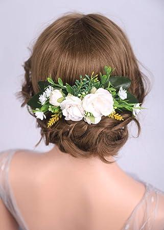 Amazon Com Denifery Flower Hair Comb Floral Cream Pink Fairy Hair Flowers Bridal Hair Fashion Accessories Barn Wedding Woodland Hair Comb Beauty