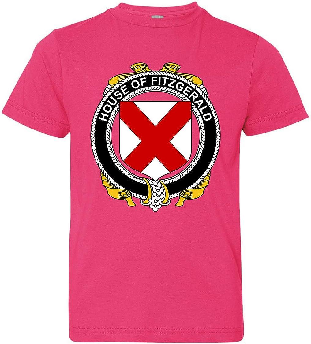 Tenacitee Boys Youth Irish House Heraldry Fitzgerald T-Shirt Hot Pink Medium
