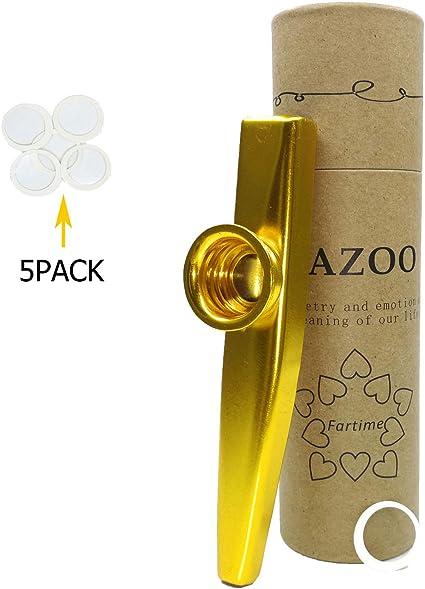 WANDIC Diafragma de aleaci/ón de aluminio Kazoo y 3 membranas con caja de regalo