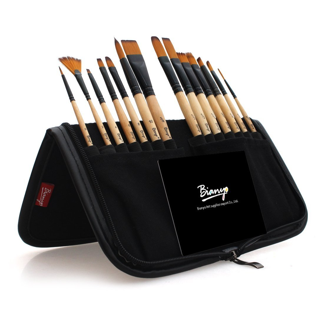 Bianyo Paint Brushes for Acrylic Painting - 14pcs Nylon Brush Set for Watercolor, Oil and Plein Air Painting - Carrying Case with Holder 4336960781
