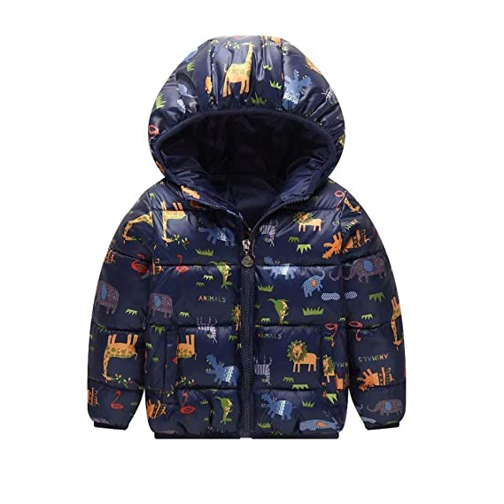 Baby Boys Girls Animal Printing Winter Coat Zipper Hooded Jacket Outdoor Clothing