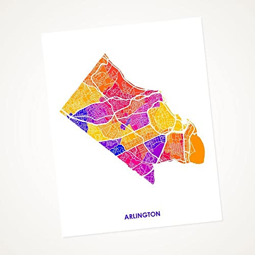 picture relating to Printable Maps of Virginia called : Arlington, Virginia Artwork Map Print. Map of