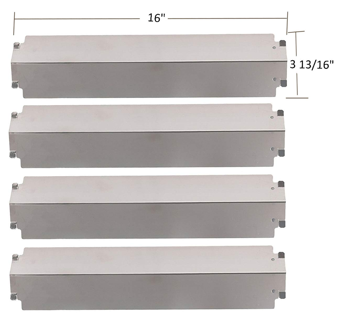 SH3321 (4-pack) Stainless Steel Heat Plate, Heat Shield, Heat Tent, Burner Cover Replacement for Select Gas Grill Models by Charbroil, Thermos, Kenmore Sears, Lowes Model Grills and Others by BBQ funland