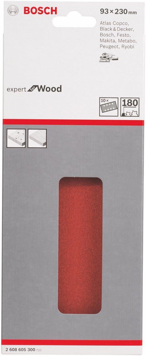 Bosch 2608605909 Feuille abrasive pour ponceuse vibrante 93 x 230 mm 8 Trous Grain 100 10 pi/èces