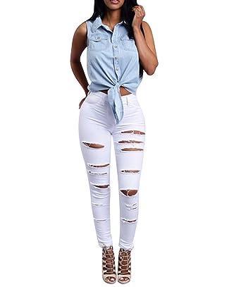 b61fc18a0f08 High Waist Jeanshosen Skinny Jeans Hosen Damen Stretch Zerrissene Jeans Mit  Löchern Destroyed Röhrenjeans Damen Slim