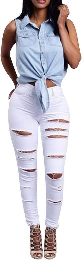 Isshe Pantalones Vaqueros Cintura Alta Mujer Jeans Talle